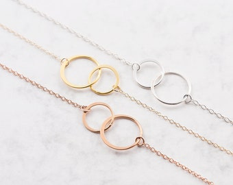 Infinity circle necklace. sterling silver, rose gold or yellow gold chain, layering necklace, gift for her, best friend, infinity jewelry