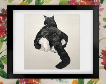 "Izzie ""Baby Got Back"" Cat Watercolor Art Print"