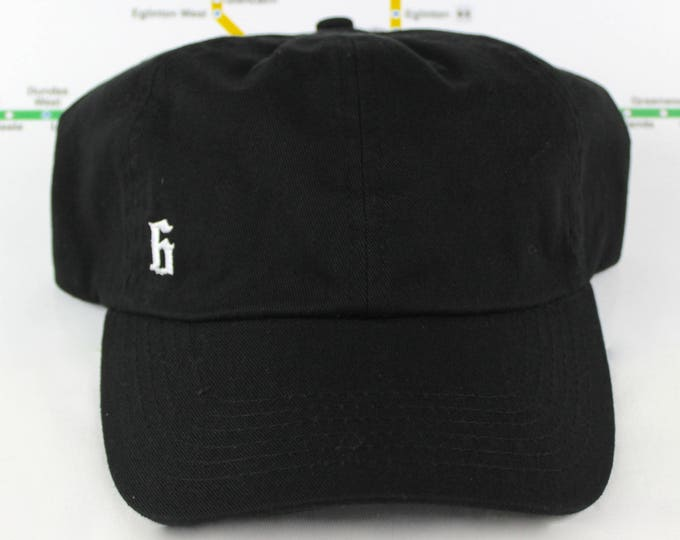 "Featured listing image: Minimalist ""The 6"" Collection Black Dad Hat! 100% Cotton, Unstructured ""416"" Toronto Dad/Polo Caps! YYZ, GTA, OVO, T Dot, The 6ix, Six, 6!,"