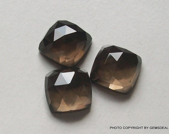 Square 10 mm NATURAL SMOKEY QUARTZ  square cushion Rose Cut flat gemstone.....