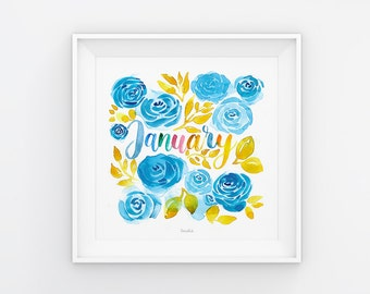 January lettering with watercolor flowers, download, print template, printable, 21 x 21 cm, calendar, square, painting, seasonal
