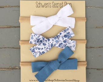 Hand tied bow, fabric bow headband, baby girl headband, baby headband, baby bow headband, baby hair bow, baby girl bow, newborn headband