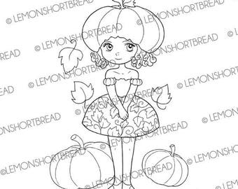 Digital Stamp Pumpkin Hat Girl, Autumn Fall, Digi Download, Fantasy Leaves, Coloring Page, Clip Art, Scrapbooking Supplies, Graphic
