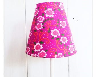 Fabric shade pink neon flowers