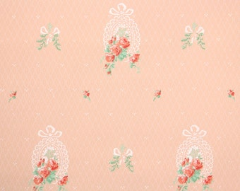 1930s Vintage Wallpaper by the Yard - Pink Roses and Lace on Pink, Floral Wallpaper