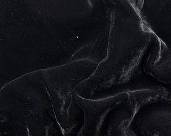 Silk velvet fabric - approx 140cm - 54 inches wide-  Black- priced per yard