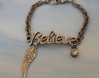 """Sale! Believe in Angels Inspirational Pewter & Silver Bracelet, 1"""" Angel Wing+Rhinestone on """"Believe"""" Center Band, Lobster Clasp 7.5 Inches"""