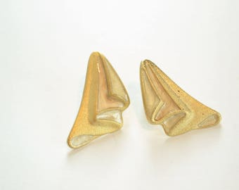 Gold Clip On Earrings / Vintage Gold Earrings / Curtain Earrings / Stagey Earrings / Theatre Earrings / Gift for Her / Gift for Girlfriend