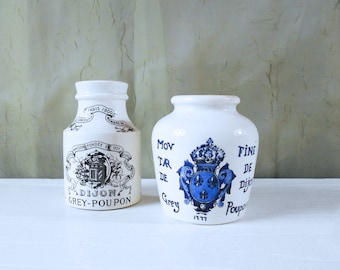 Pair of Antique Grey Poupon Ironstone Mustard Jars / Crocks from France - Instant Collection!