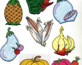 8 badges FRUITS and vegetables, patch or sew Applique Patch