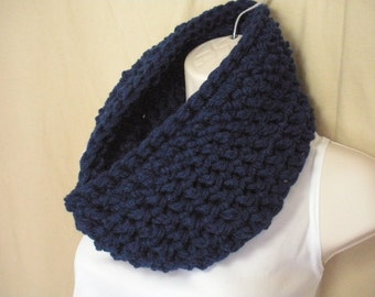 Navy Blue Cowl Infinity Circle Scarf Neckwarmer