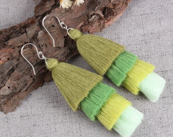 Four Layered Green Tassel Earrings