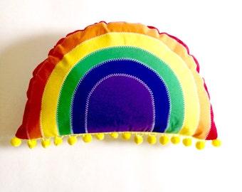 Rainbow Pillow, Rainbow Decorative Pillow, Kids' Room Decor, Rainbow Plush, Gender Neutral Kids Pillow, olive + bo