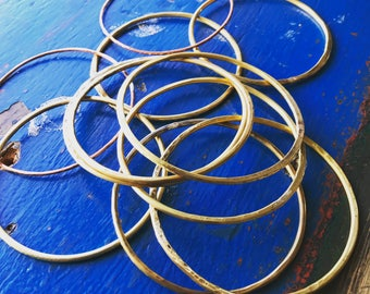 brass hammered bangles