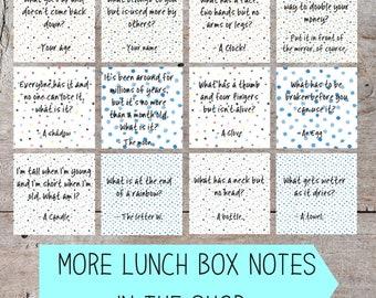Printable Lunch Box Notes, Lunch Box Notes, Lunch Box Jokes, Lunch Box Notes for Kids, Funny Lunch Box Notes, Lunch Box Note Printable