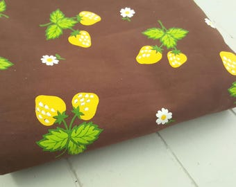 Vintage Fabric Yellow Strawberries Brown Kitsch