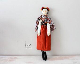 Frida Doll, Rag doll, handmade doll, cloth doll, collectible doll, gift doll, rag Frida, cloth doll