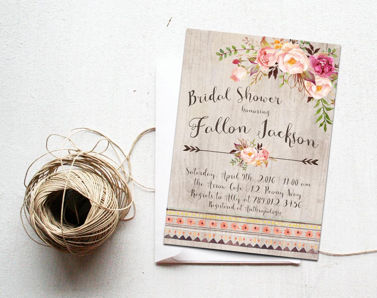 Bridal Shower Invitation Modern Wedding Boho Chic