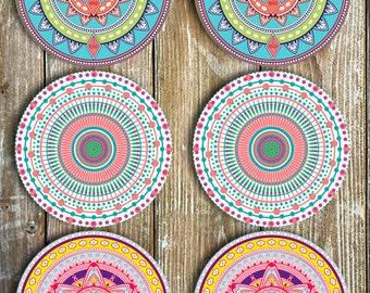 Mandala Coasters - Set Of 6 Non Slip NEOPRENE - Novelty Coasters - Mandalas - Tableware - Decor - Drinkware - Barware