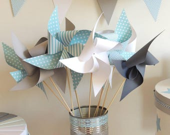 Set of 10 pinwheels wind color pastel blue, gray and white 15cm