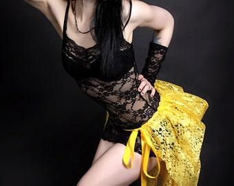 Short Golden Sunshine Daisy Yellow Lace Mid Length Bustle Wrap MTCoffinz - All Adult Sizes