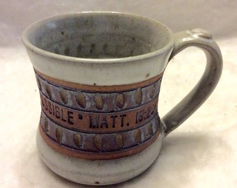 With God All Things are Possible stoneware artist mug.