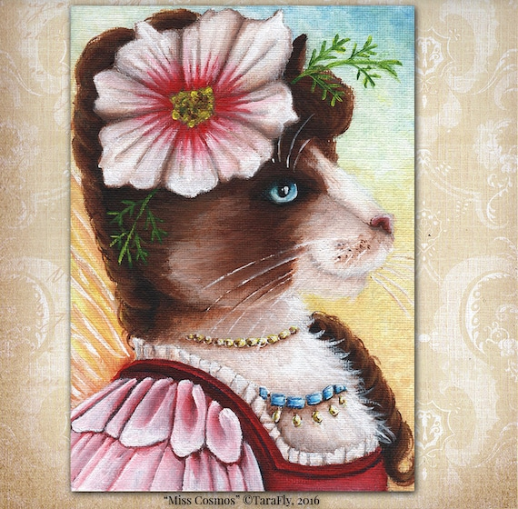 Cosmos Fairy Cat Flower Fantasy Art 5x7 Fine Art Print CLEARANCE