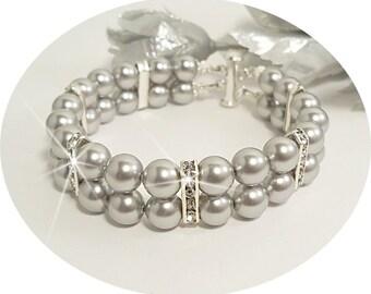 Gray Bridal Bracelet, Silver Gray,  Bridesmaid Jewelry, 2 Strand Bracelet, Bridal Accessories,  Gray Jewelry, Grey Jewelry, Gray Bracelet
