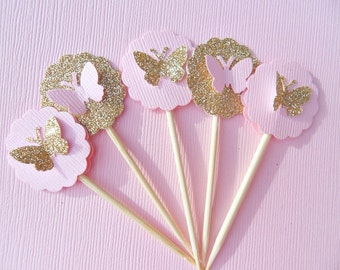 Gold Glitter Cupcake Toppers - Butterfly Cupcake Toppers - Bridal Shower Cupcake Toppers -  Small Cupcake Toppers - Pink Toppers PGBT