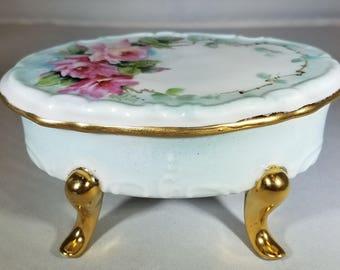 Vintage-Soap-Trinket-Dish-Rose Pattern-Hand Painted-Home Decor-Bathroom Decor