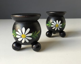 Swedish Wooden Ball Candleholders, White Daisy Floral on Black, Vintage Scandinavian Holiday Home Decor