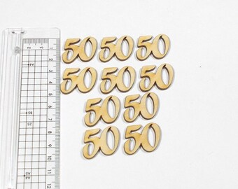 Birthday number 50 wooden 2.1 cm, 10 pieces for invitation cards