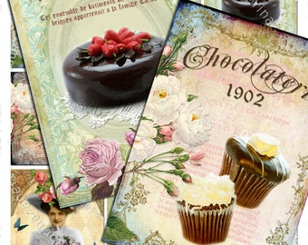 CHOCOLATE AND CAKE printable digital collage sheet gift label atc aceo size  hang tag instant downloads background - ac127