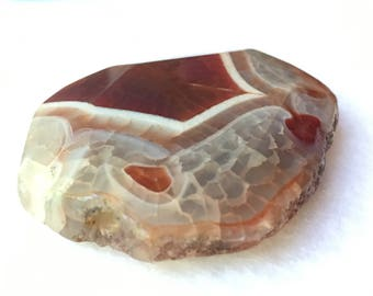Large 52mm Red Agate Gemstone Bead with 3mm top to bottom hole for jewelry making