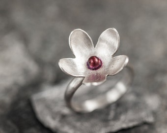 Romantic Flower Sterling Silver Ring Pink Enamel Nature Curved Petals Ring Feminine Bridal Handmade Jewelry