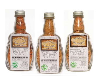 Triplet of Eco Artisan Spice Blends - Pasta Sauce Mix - Dip Mix - Gluten Free Dairy Free Vegan - Food Market  - Herbs & Spices Food Gift Set