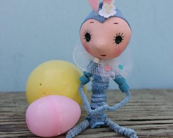Vintage Style Blue Easter Bunny,  Big Eye,  Shelf Sitter