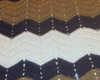 Taupe and Blue baby afghan
