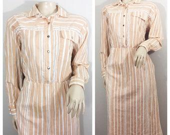 Pink and White Sears Dress //Vintage Striped Dress // Sears The Sportsdress