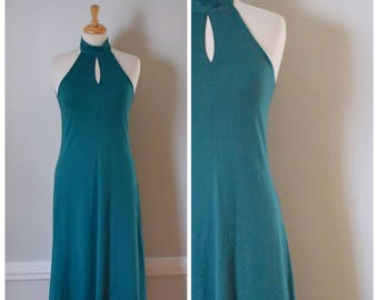 Vintage 70s Dress / Jersey Halter Dress / Teal Halter Dress / Size Small To Medium