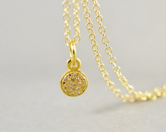 Diamond Disc Gold Necklace, Genuine Diamond Necklace, Brides Gift, Short Necklace, Minimalistic