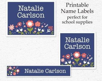 Back to School Name Label Set | Printable | Personalized Name Labels for School Supplies | School Supply Labels | Flowers on Navy