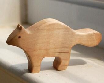 Carved Wooden RACCOON, Handmade Toy Animal, Waldorf Inspired