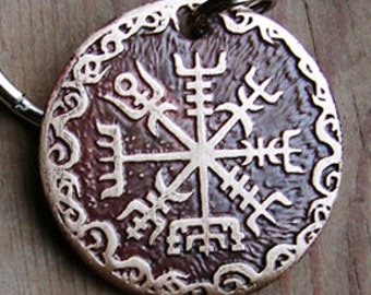 Custom Dog Tag, Pet ID, Viking Compass Vegvisir Etched Brass, Personalized, Full Design
