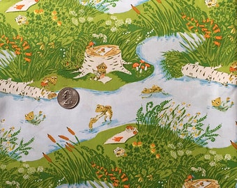 2 Yards HTF Heather Ross Frog Pond Briar Rose Cotton Fabric