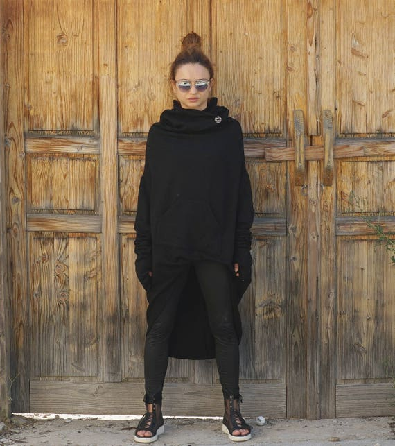 Oversized Hooded Asymmetric Top Tunic, Autumn Winter Extravagant Top, Black Cotton Extra Long Sleeves Hoodie, Cozy Warm Loose Hoodie