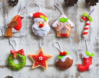 Christmas ornament Santa Claus Gingerbread house christmas tree decor felt reindeer candy cane christmas bauble Father christmas stocking