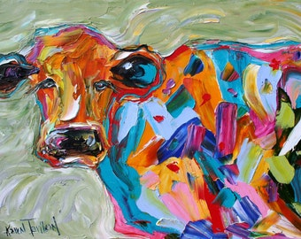 Fine art Print Abstract Cow from oil painting by Karen Tarlton - impressionistic whimsical art