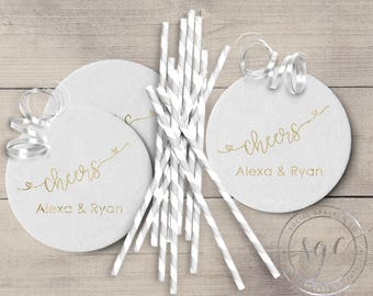 Cheers Cocktail Drink Coasters | Wedding Cup Coasters | Bride and Groom Coasters | Hot Stamped Foil Party Favors