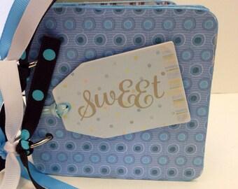Baby Boy premade chipboard coaster mini album- blue baby scrapbook 4x4